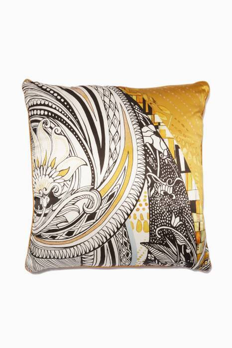 Mustard & Black Printed Large Salome Cushion