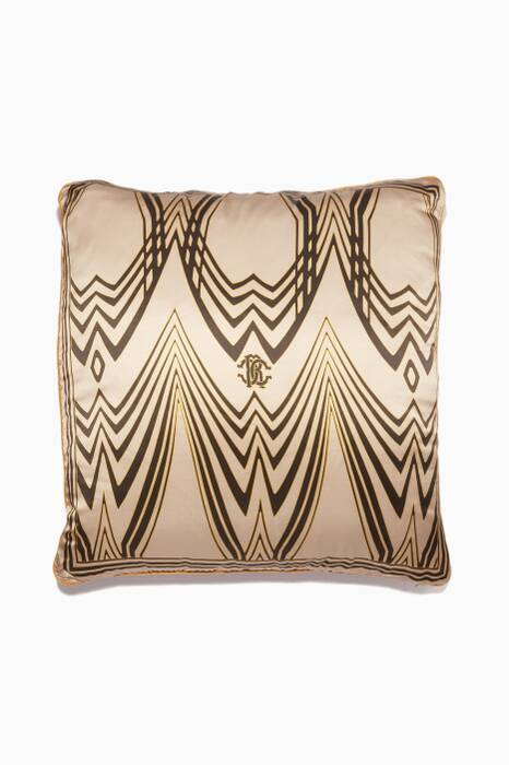 Beige & Black Silk Large Deco Cushion