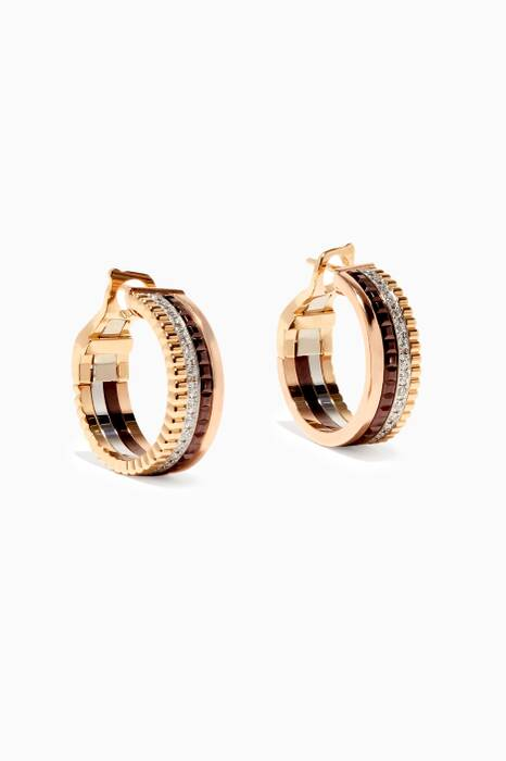 Gold & Diamond Quatre Hoop Earrings