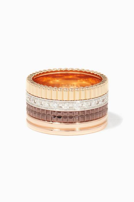 Yellow, White & Rose-Gold Diamond Pavé Large Quatre Ring