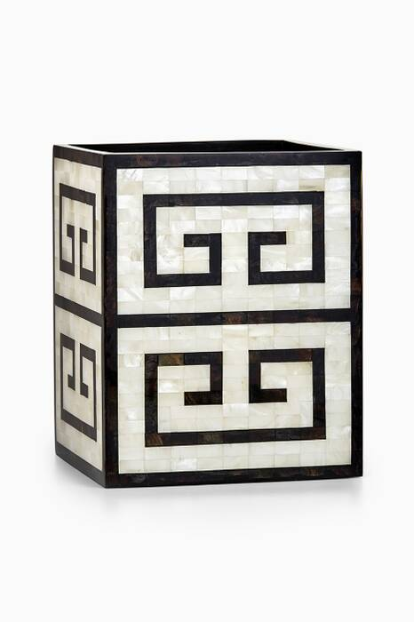 Off-White & Black Greek Key Waste Basket
