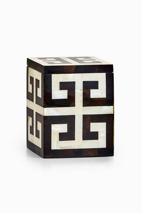 Off-White & Black Greek Key Canister