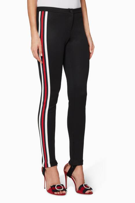 Black Jersey Web Stirrup Leggings