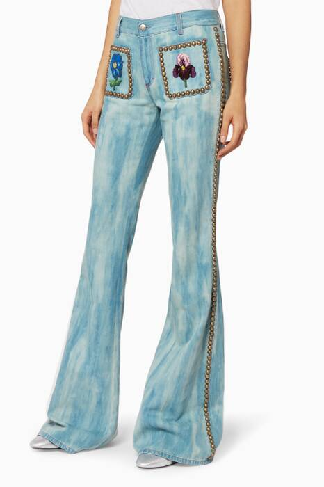 Light-Blue Embroidered Denim Pants