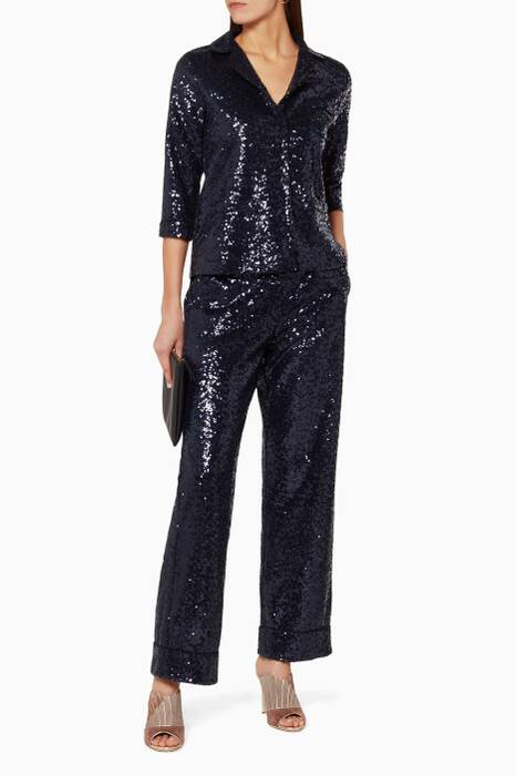 Navy Sofia Sequin Pyjama Top