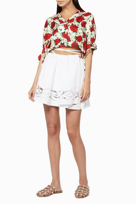 White Embroidered Mini Wrap Skirt