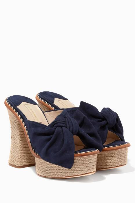 Navy Monaco High Heel Platform Sandals