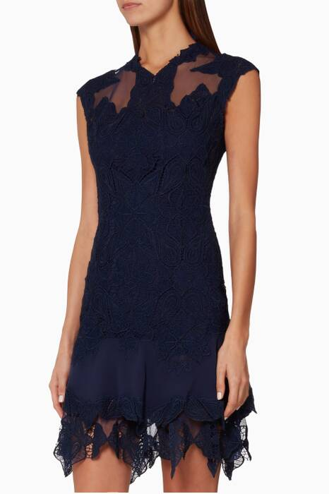Navy Crocheted Corded Lace Dress