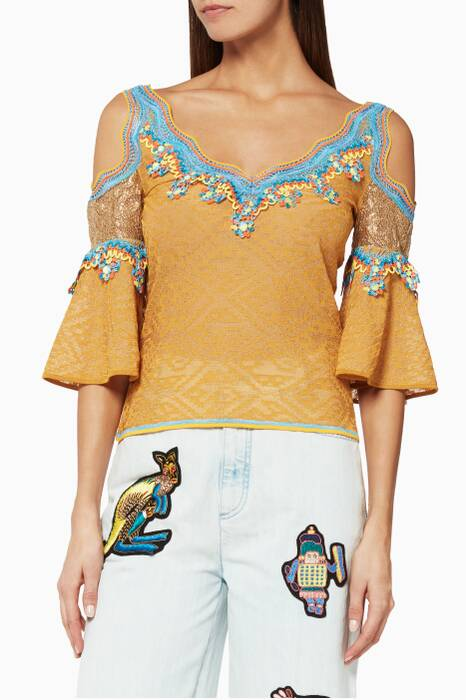 Gold Lace Jacquard Knitted Top