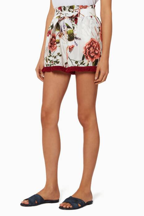 Peony Floral Paperbag Shorts