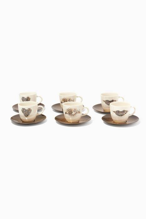Mosaic Eye & Lip Turkish Coffee Set Of 6