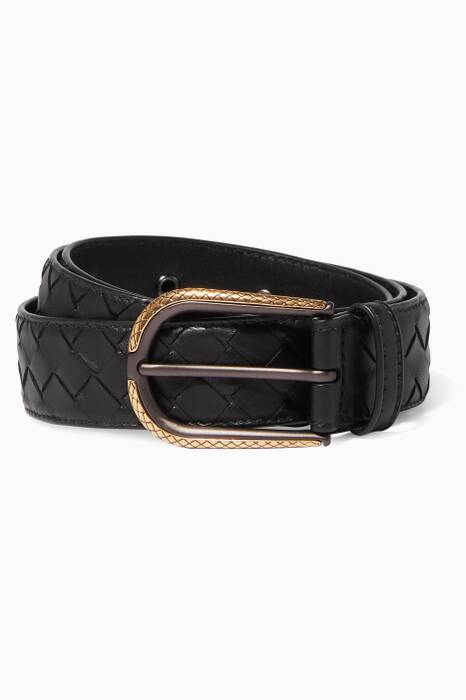 Black Intrecciato Leather Belt
