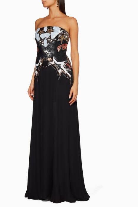 Black Sequin Star Embellished Gown