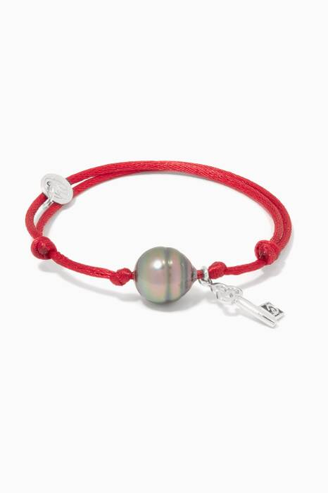 Red Pearl & Opportunities Charm Bracelet