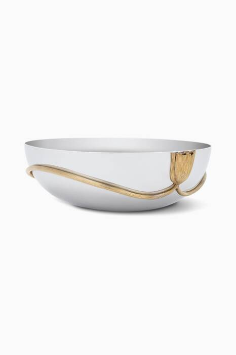 Gold Plated Deco Leaves Large Bowl