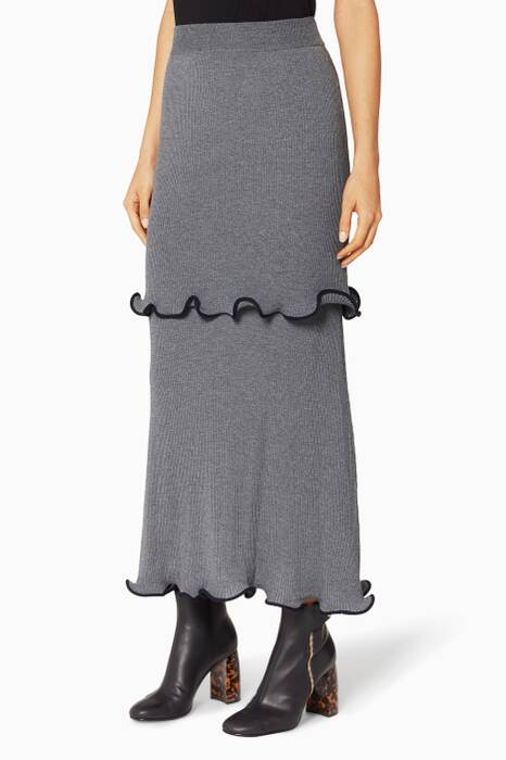 Gray Ruffle-Trim Midi Skirt