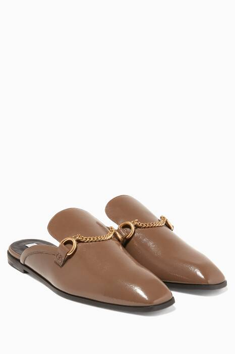 Beige Patent Faux-Leather Loafers