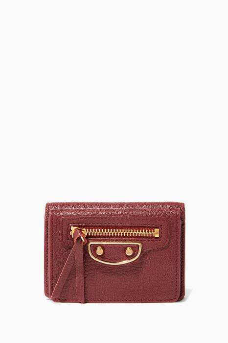 Dark-Red Met Edge Mini Wallet