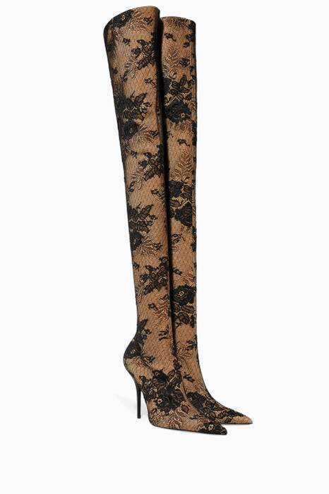 Black Knife Lace Thigh-High Boots