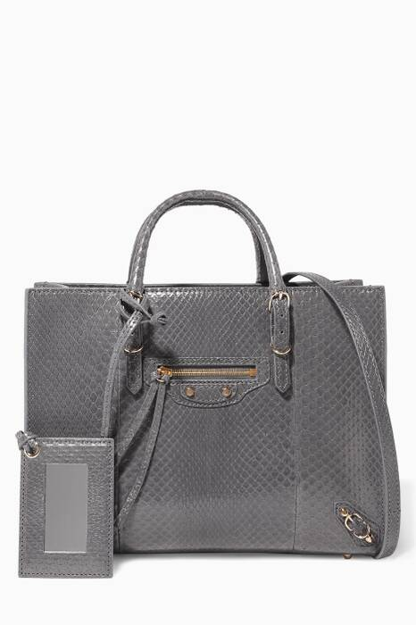 Grey Python Papier A6 Shoulder Bag
