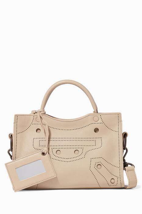 Beige Mini Blackout City Cross-Body Bag