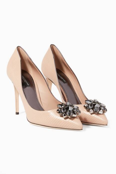 Nude Kate Iguana-Embossed Crystal-Embellished Pumps