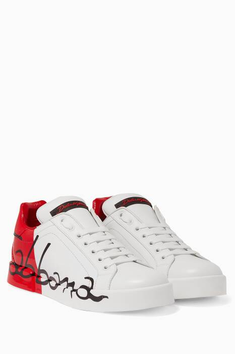 Red & White Portofino Painted Sneakers