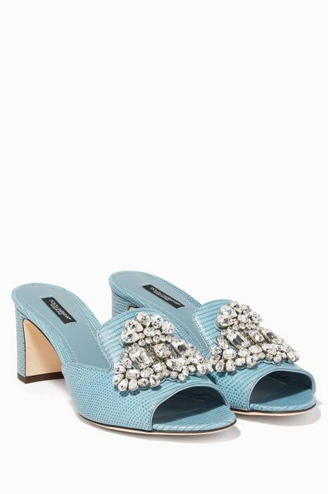 Light-Blue Bianca Iguana Print Embroidered Sandals