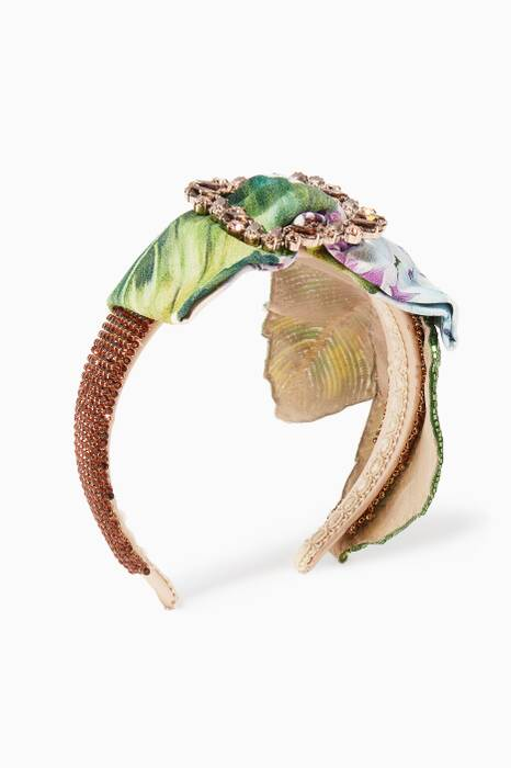 Multi-Coloured Leaf-Embroidered Headband