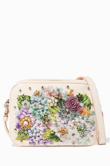 Blush Floral Embellished Ortensia Glam Bag