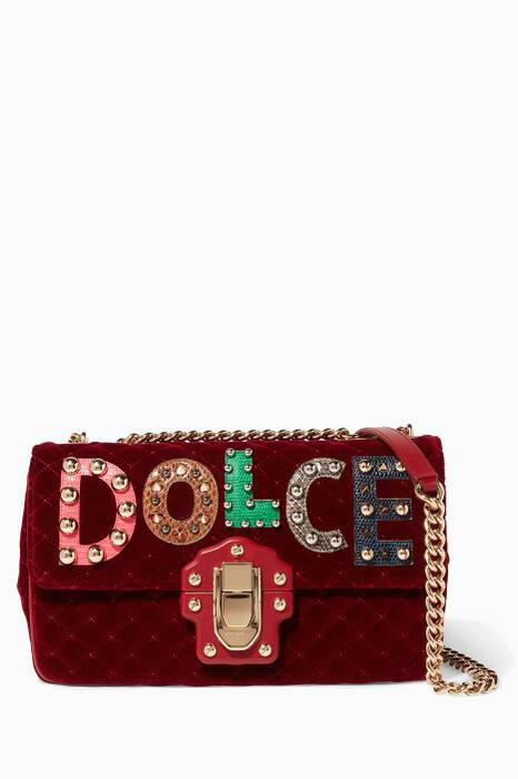 Red Velvet Stud Embellished Lucia Shoulder Bag