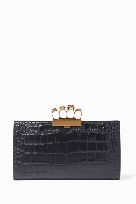 Black Skull Knuckle Flat Clutch