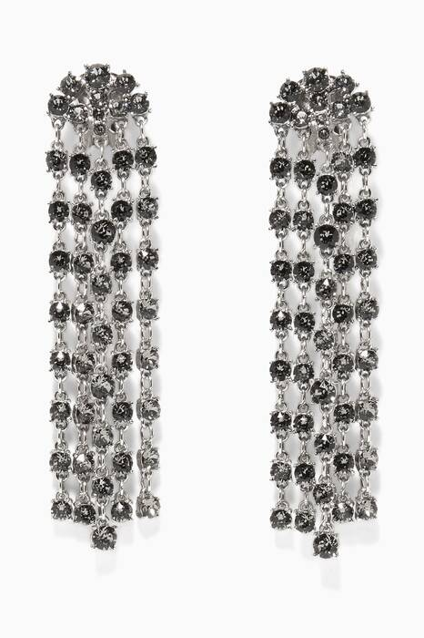 Silver Crystal Embellished Earrings