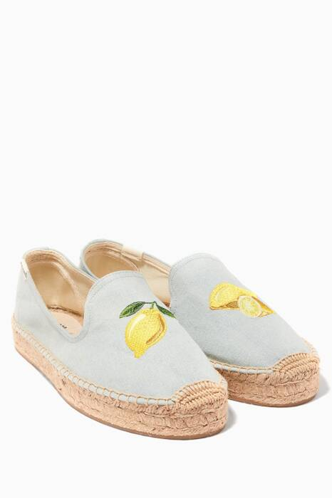 Chambray Lemon Embroidered Platform Espadrilles