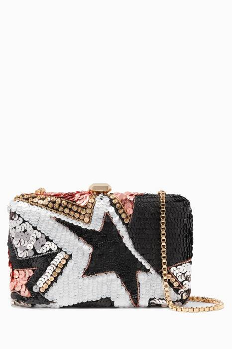 Multi-Coloured Sequined Embroidered Clutch