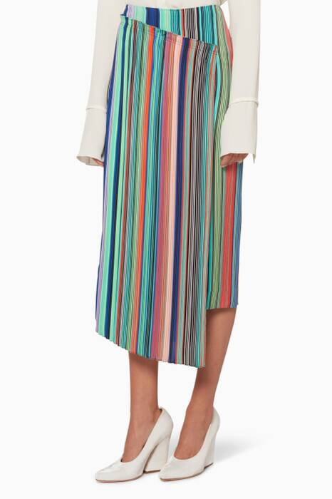 Multi-Coloured Striped Asymmetric Skirt