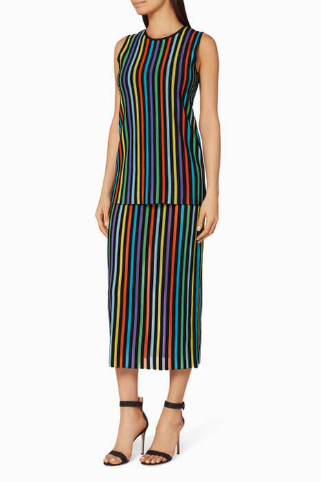 Azure Combo Striped Two-Tiered Knit Dress