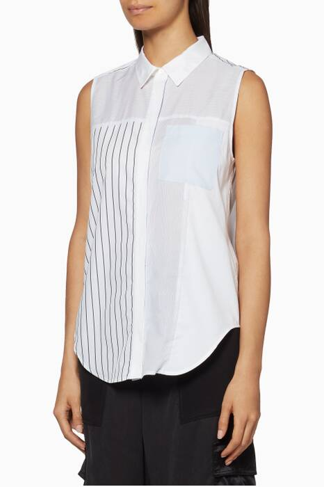 White Sleeveless Patchwork Shirt