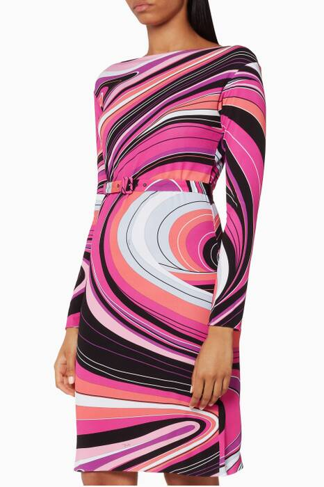 Printed Waves Jersey Marylin Dress