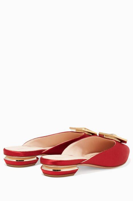 Carmine-Red Satin Jewel Embellished Eden Backless Loafers