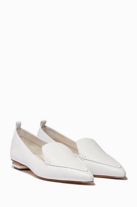 White Beya Leather Point-Toe Loafers