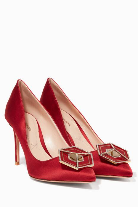 Red Satin Jewel Eden Pumps