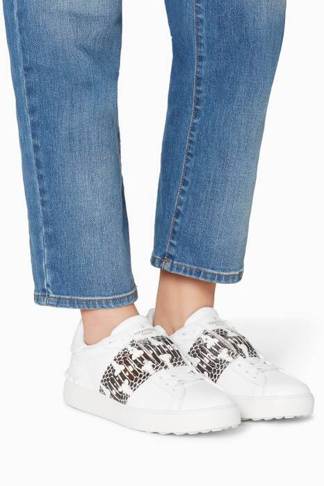 White & Python Band Low-Top Open Sneakers