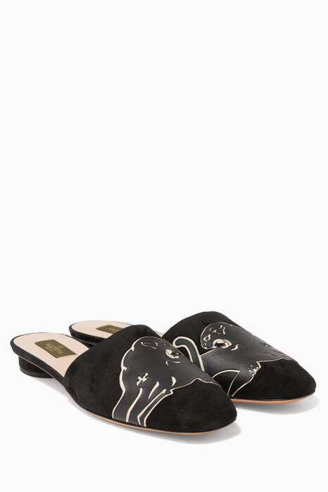 Black Suede Panther Backless Loafers