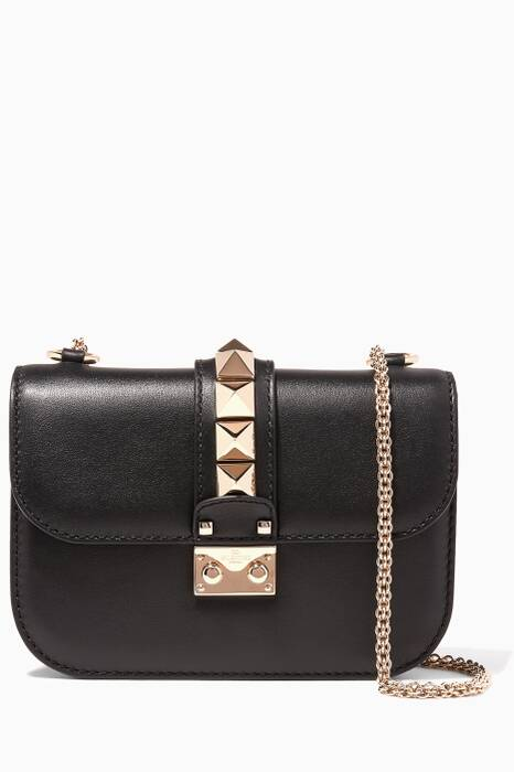 Noir Small Glam Lock Stud Shoulder Bag
