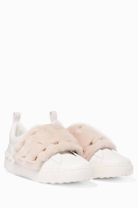 White & Light-Pink Open Fur-Trimmed Sneakers