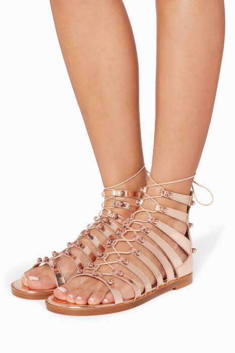 Tea Rose Gigi Metallic Gladiator Sandals