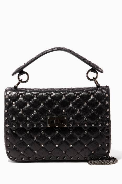 Nero Medium Rockstud Spike Textured Leather Shoulder Bag