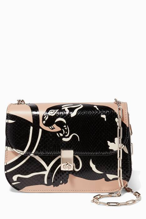 Beige Python Panther Chain Link Shoulder Bag