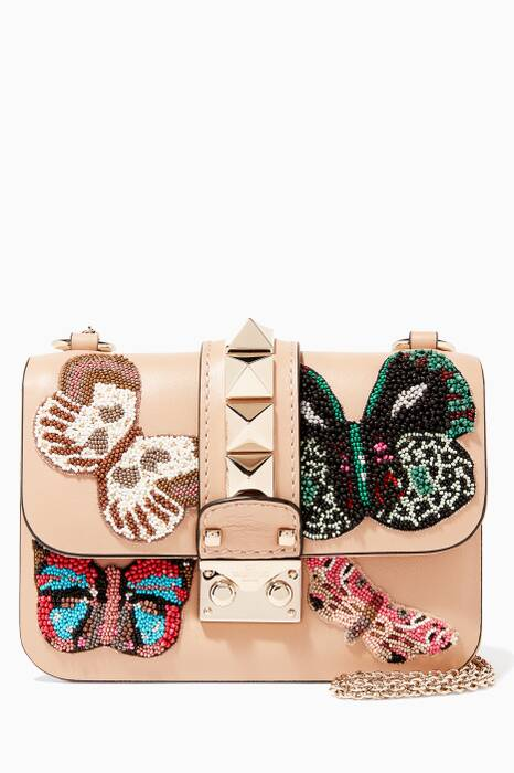 Nude Mini Butterfly-Embroidered Shoulder Bag